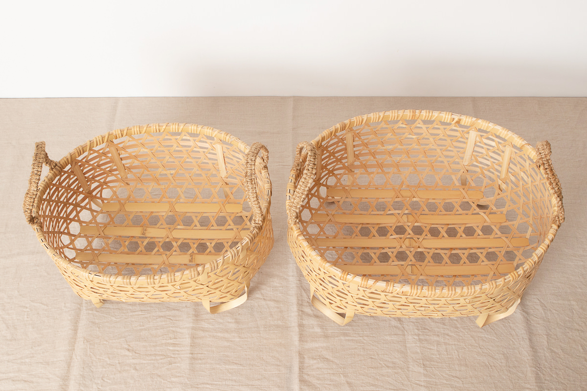 栃木県/真竹(白竹) 麻の葉バスケット 小・大 2サイズ