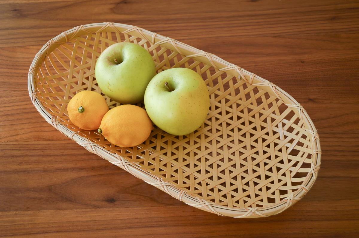 栃木県/真竹(白竹) 楕円盛り籠 麻の葉編み 小・大 2サイズ