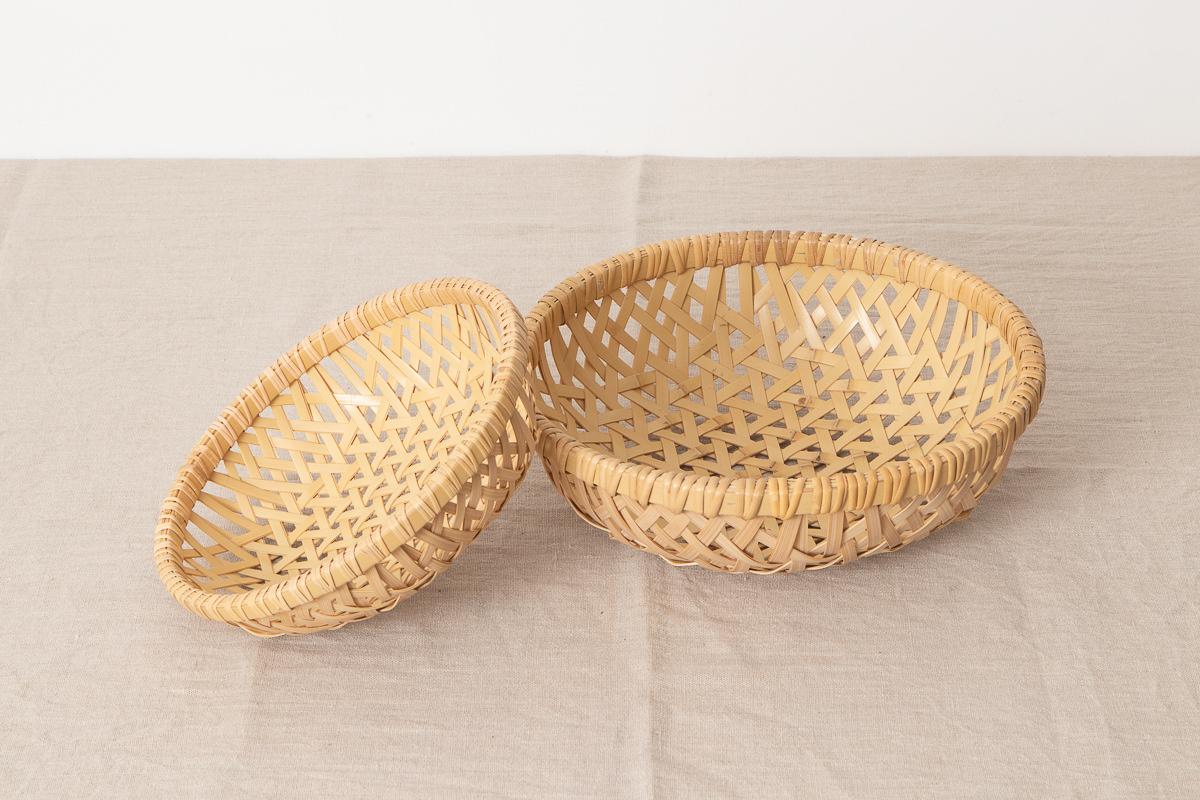栃木県/真竹(白竹) 丸盛り籠 鉄線編み 小・大 2サイズ