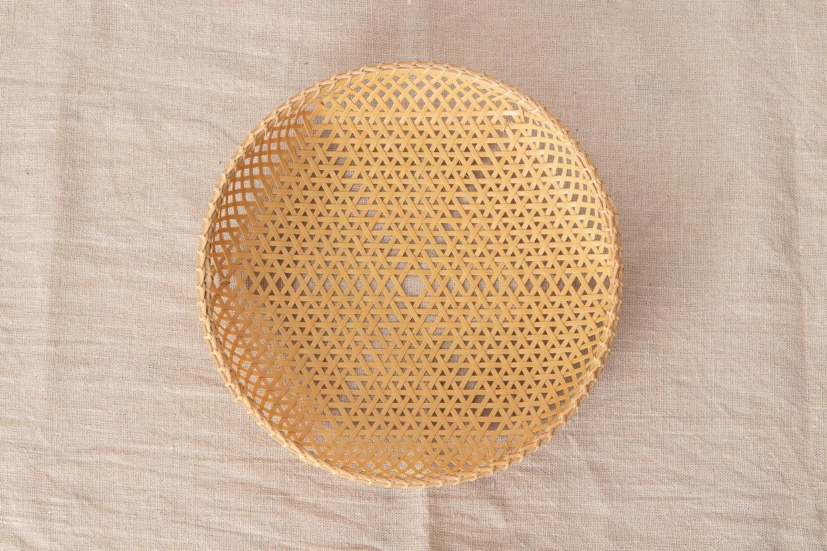 栃木県/真竹(白竹) 麻の葉編み 盛り籠