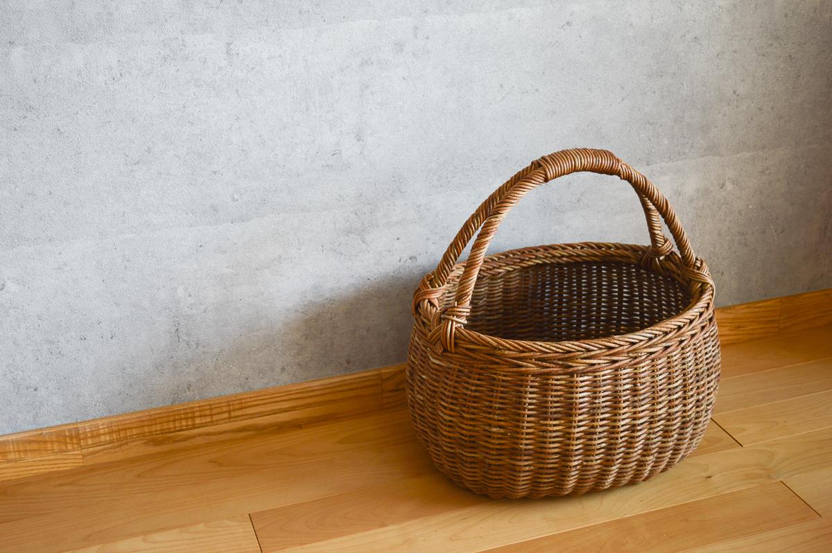 長野県/あけび 二本手丸バスケット