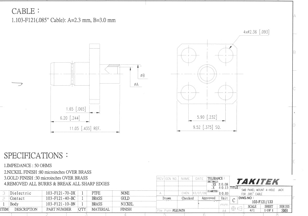 SMBコネクタ PANEL J 4H FOR 0.85 103-F121/133 T114566001N