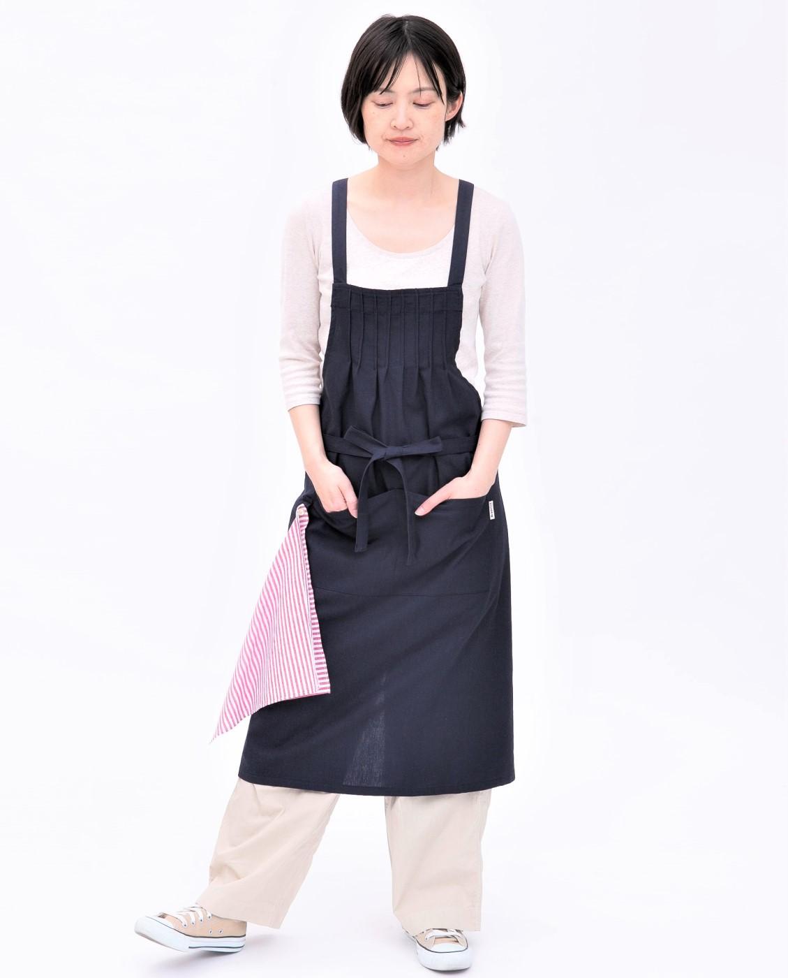 ハンカチ付き・フロントピンタックエプロン ★新作★ (送料無料)