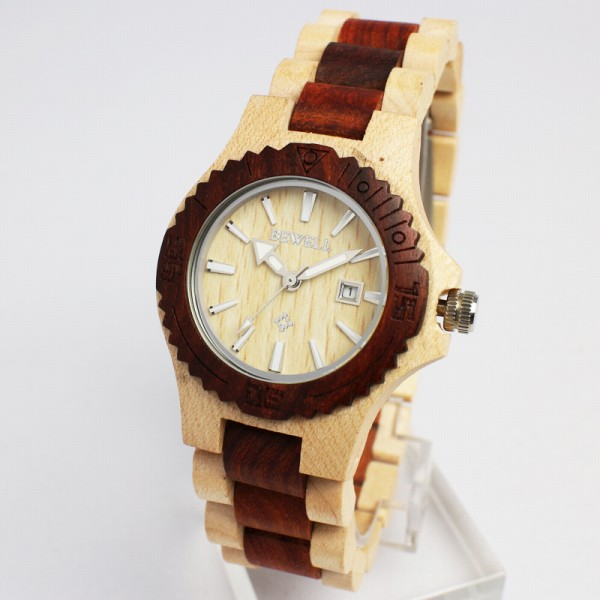 天 然 素 材  木製腕時計  日付カレンダー 軽い 軽量 WDW001-02 レディース腕時計 (送料無料)