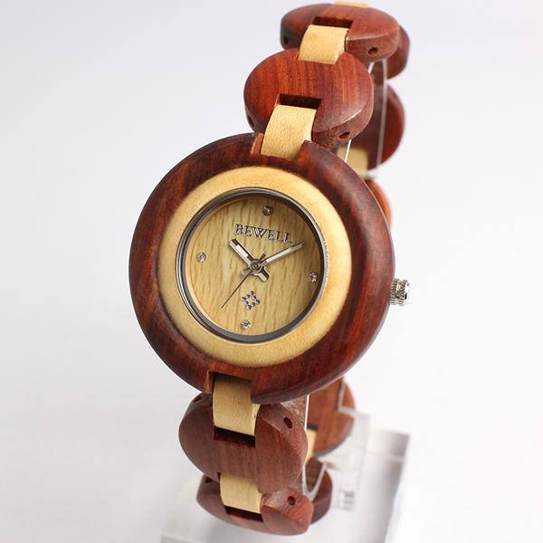 天 然 素 材    木 製 腕 時 計   軽量 ブレスレットタイプ WDW021-02 レディース腕時計  (送料無料)
