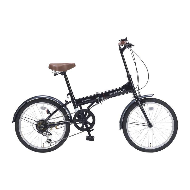 【 マイパラス  】  折畳自転車 20インチ 6段ギア M200BK  ブラック (送料無料)