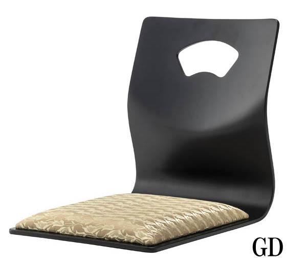座椅子 曲げ木ブラックGD/YE【座布団不要】【4脚セット】