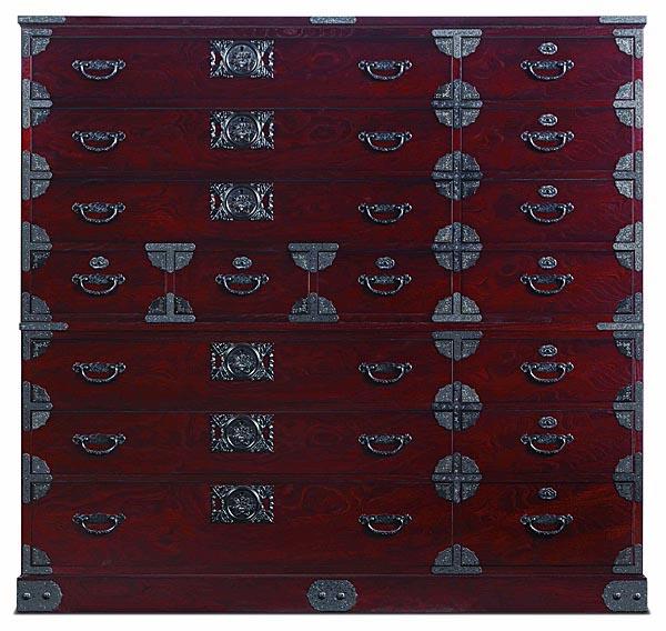 民芸ワイドチェスト 150x45x142時代色