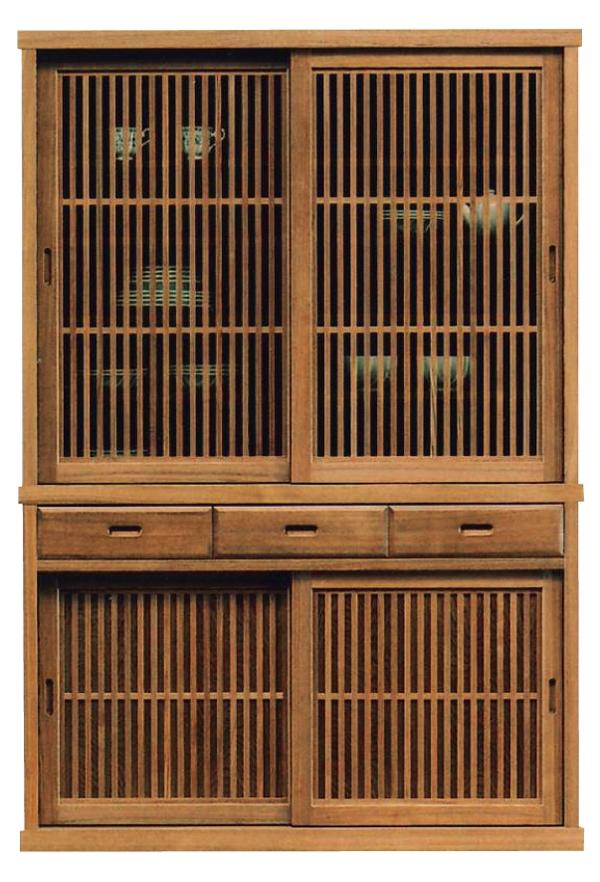 食器棚 130x189和風引戸タモ