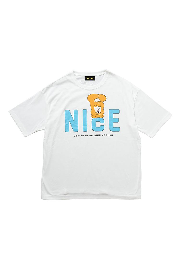 スキネズミ  ビックTシャツ NICE ホワイト