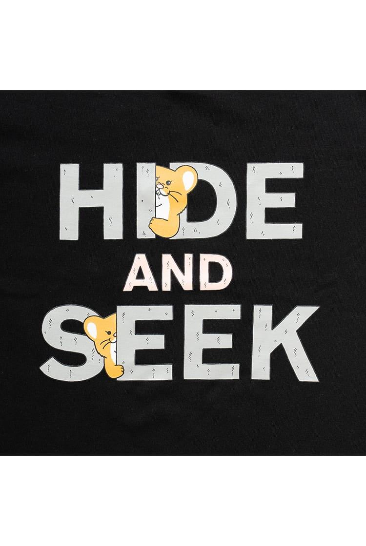 スキネズミ  Tシャツ HIDE AND SEEK ブラック kids