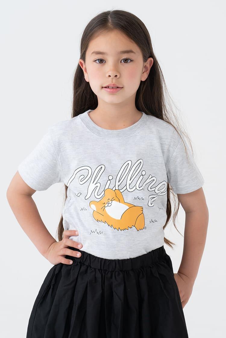 スキネズミ  Tシャツ CHILLING アッシュ kids
