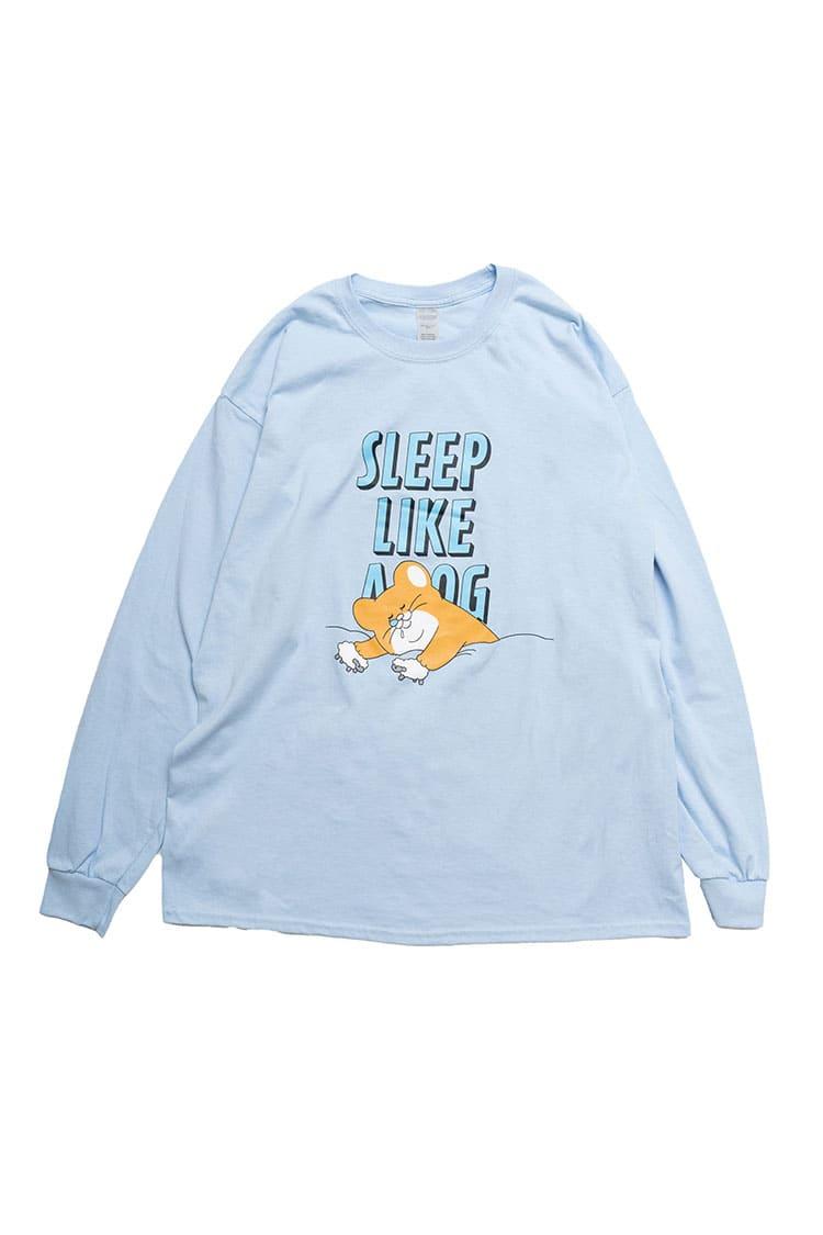 スキネズミ 爆睡 L/S Tシャツ ライトブルー