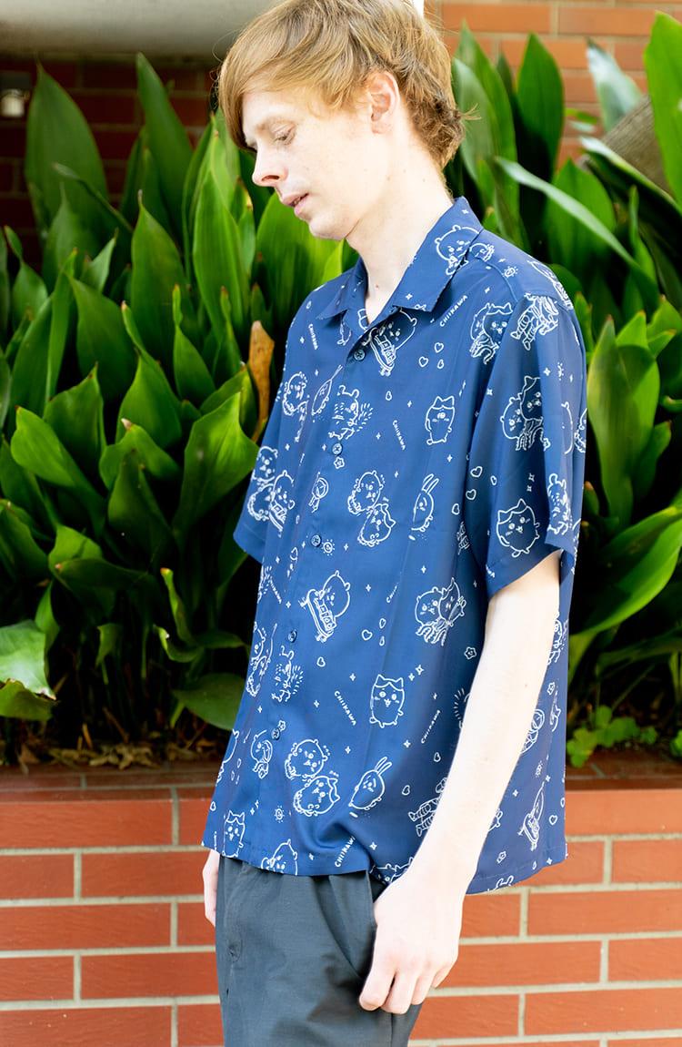 ちいかわ オープンカラー半袖シャツ 総柄 ネイビー