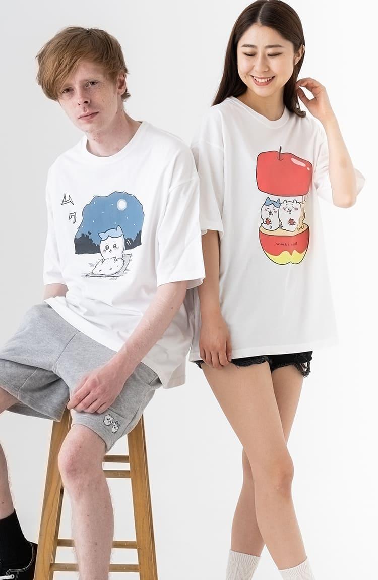 ちいかわ ビックTシャツ ハチワレ 月に願う ホワイト