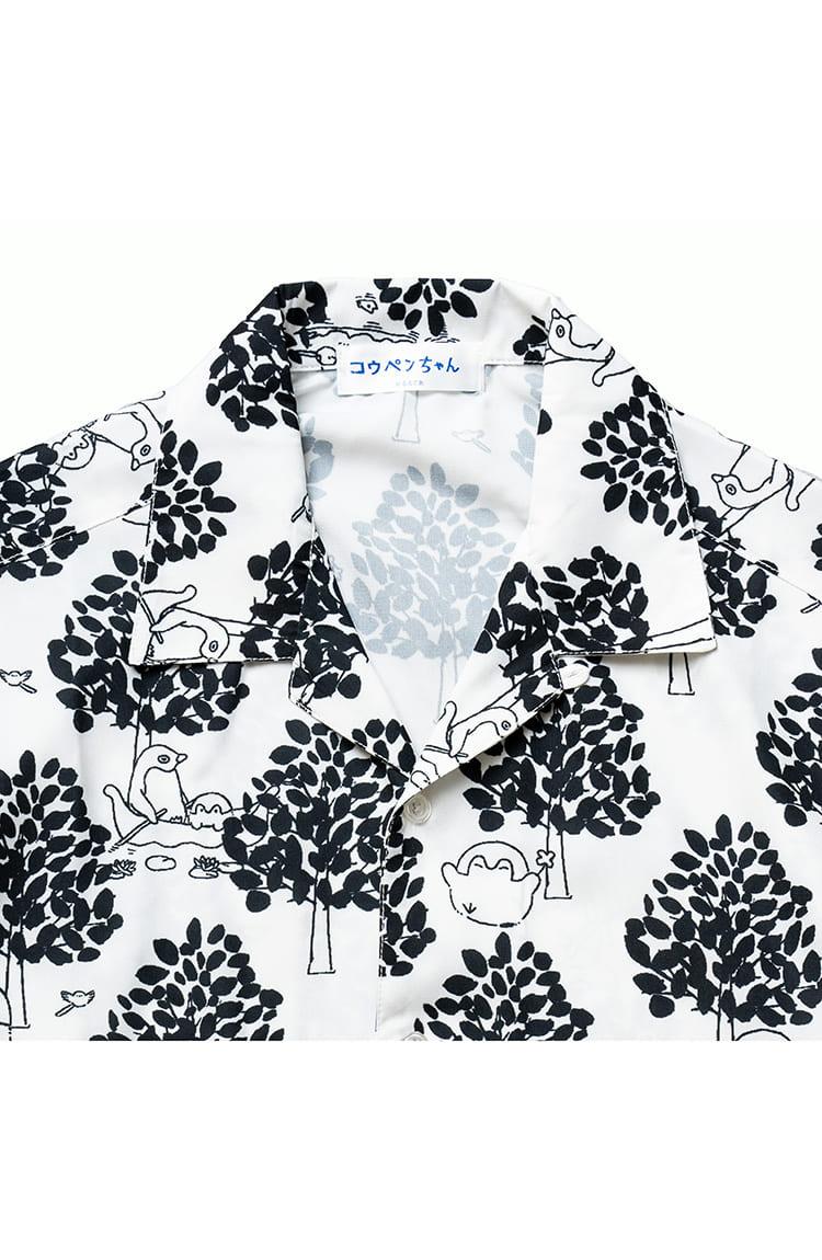 コウペンちゃん オープンカラー半袖シャツ 総柄 ホワイト