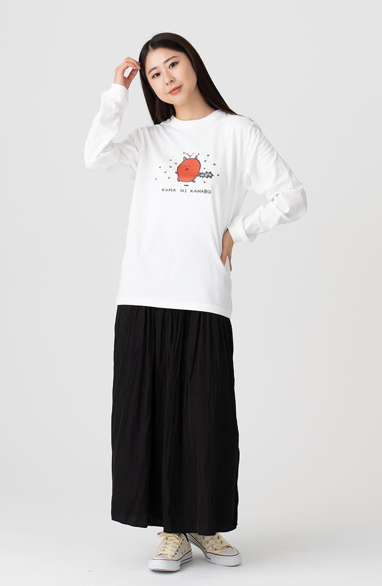 KUMA L/S Tシャツ くまに金棒 ホワイト