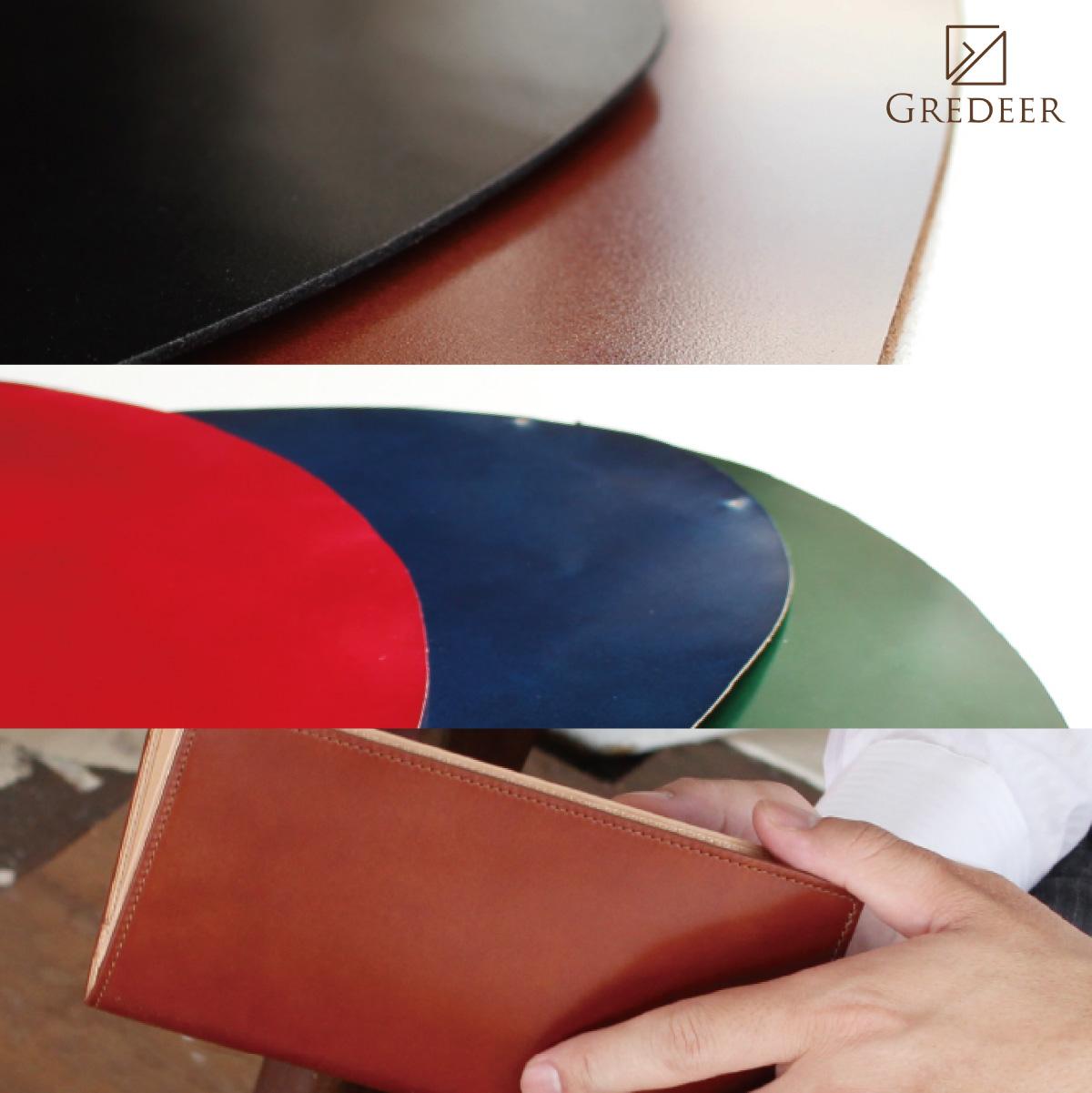 馬革(コードバン)のプレミアム財布 GREDEER コードバン ラウンドファスナー長財布 【カラー:レッド】