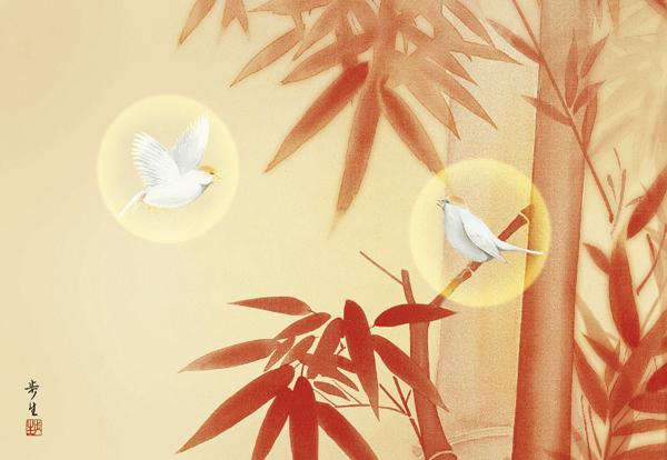 飾るだけ開運アートシリーズ 商売繁盛の『三徳朱竹図』