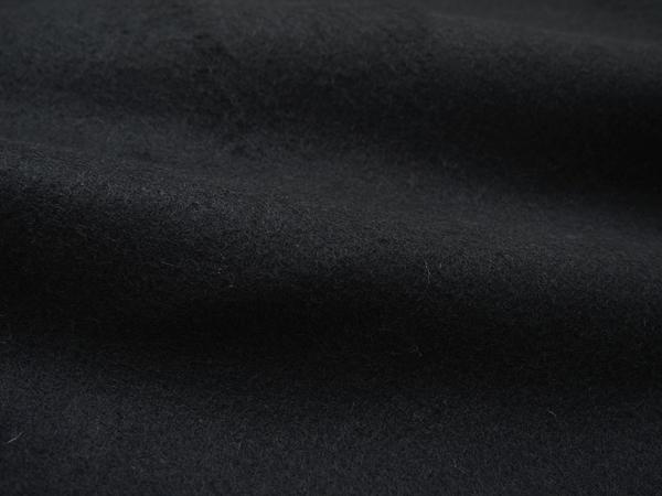 オローネ ノーカラーのメルトンコート(ブラック)