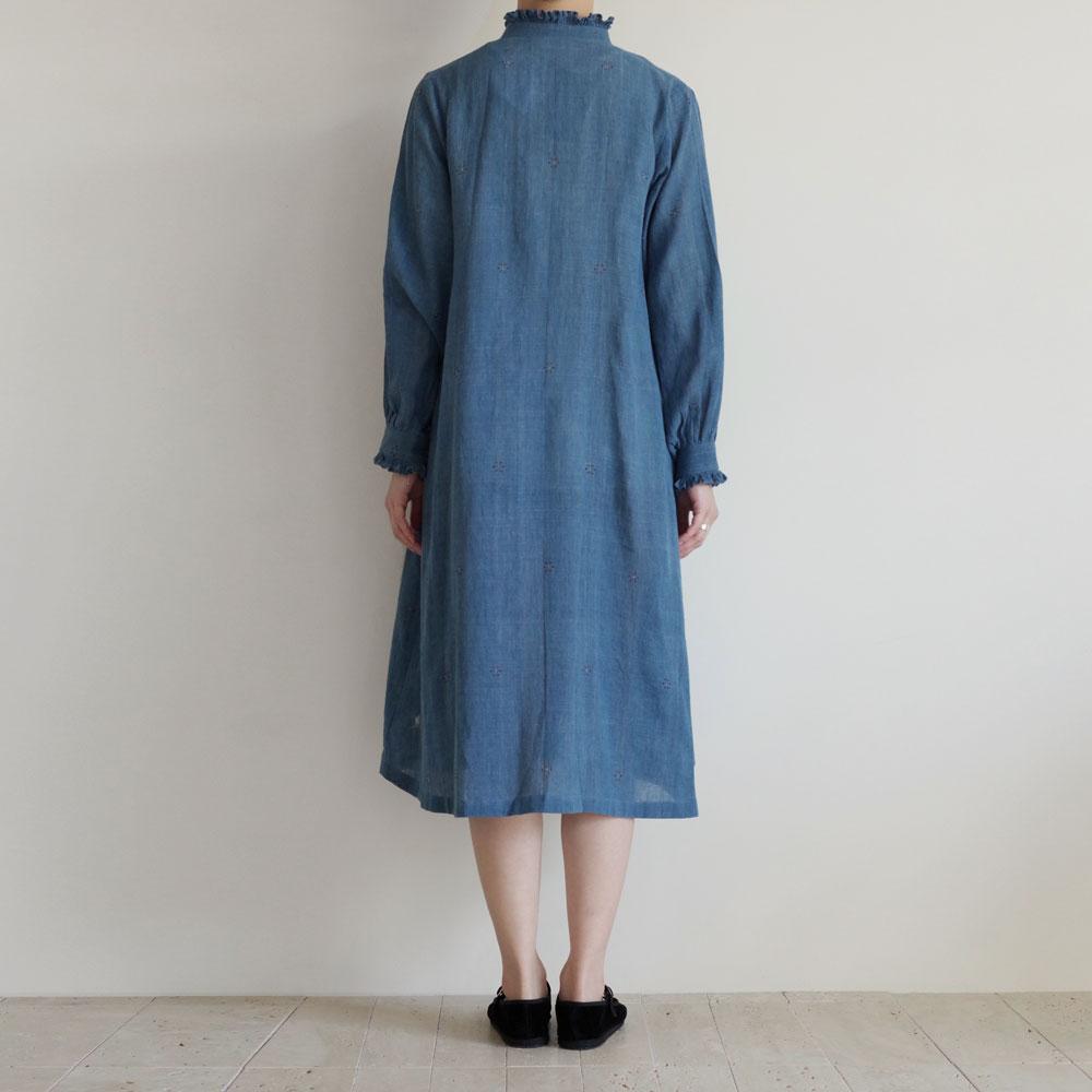 クロウ crow : Classic blue organic cotton dress フリルカラーワンピース