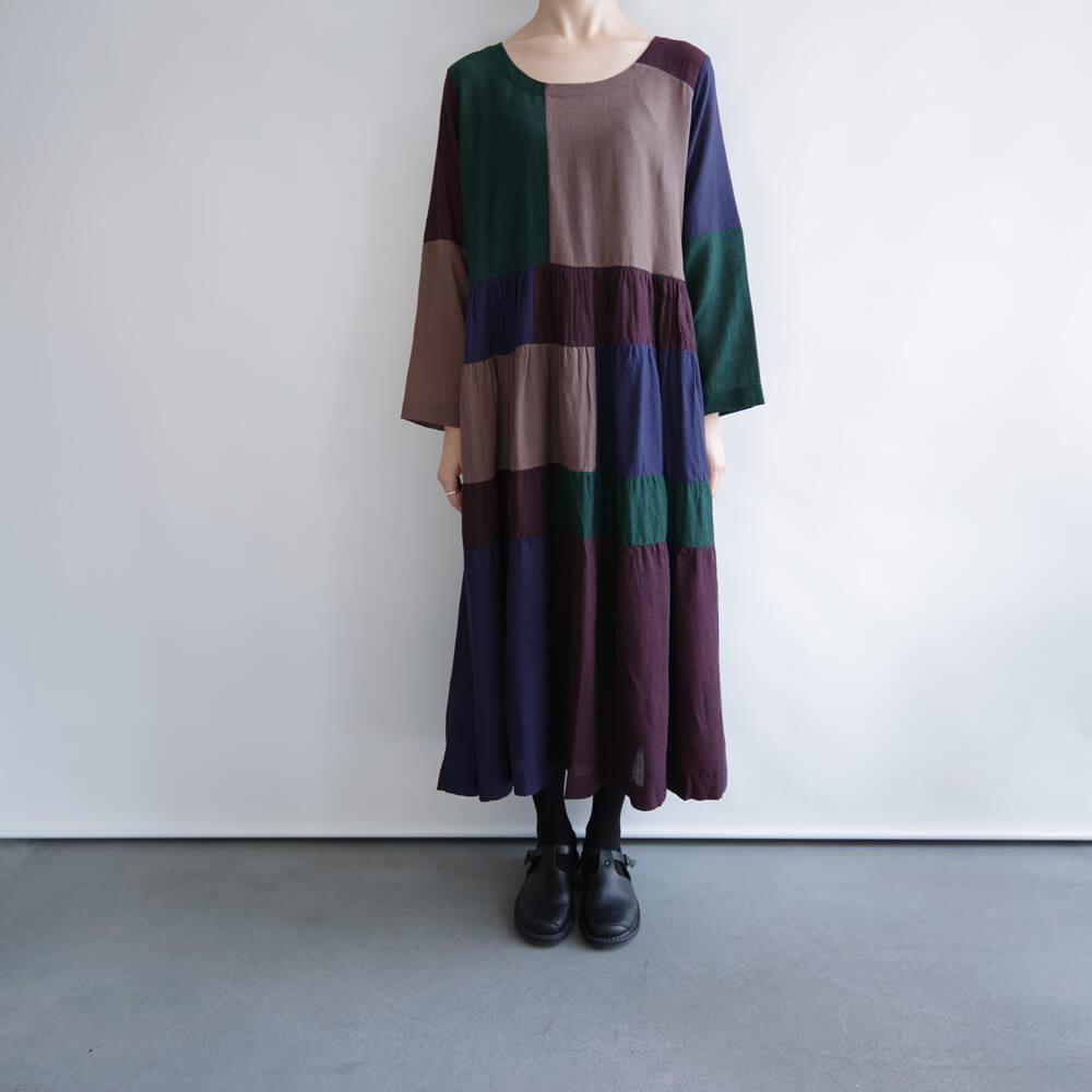 エカ eka : GRAPE DRESS ウール パッチワーク ワンピース