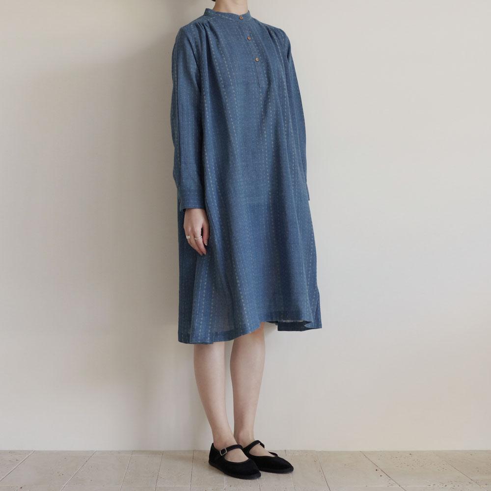 クロウ crow : Indigo organic cotton dress プルオーバーワンピース