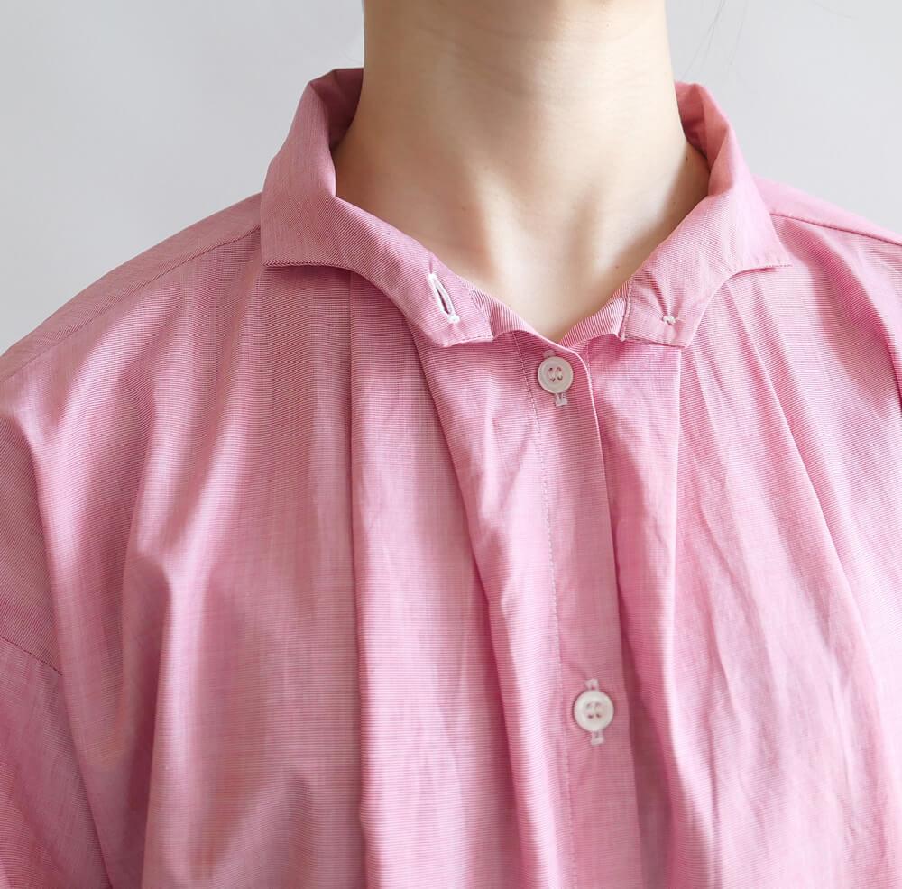 ギャレゴデスポート GALLEGO DESPORTES : long antik shirt with wave collar ウェーブカラーシャツ (light red)