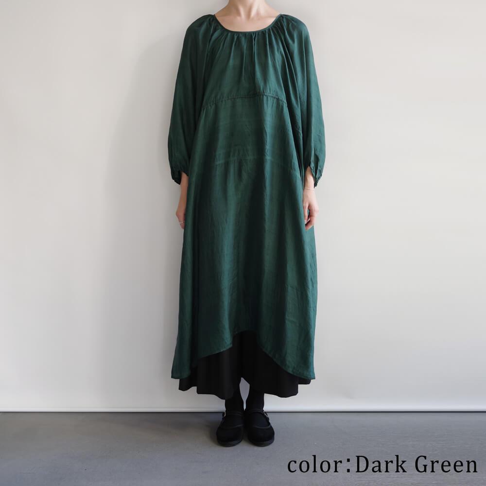 ブノン BUNON : Back Button Dress カディシルク ギャザーワンピース