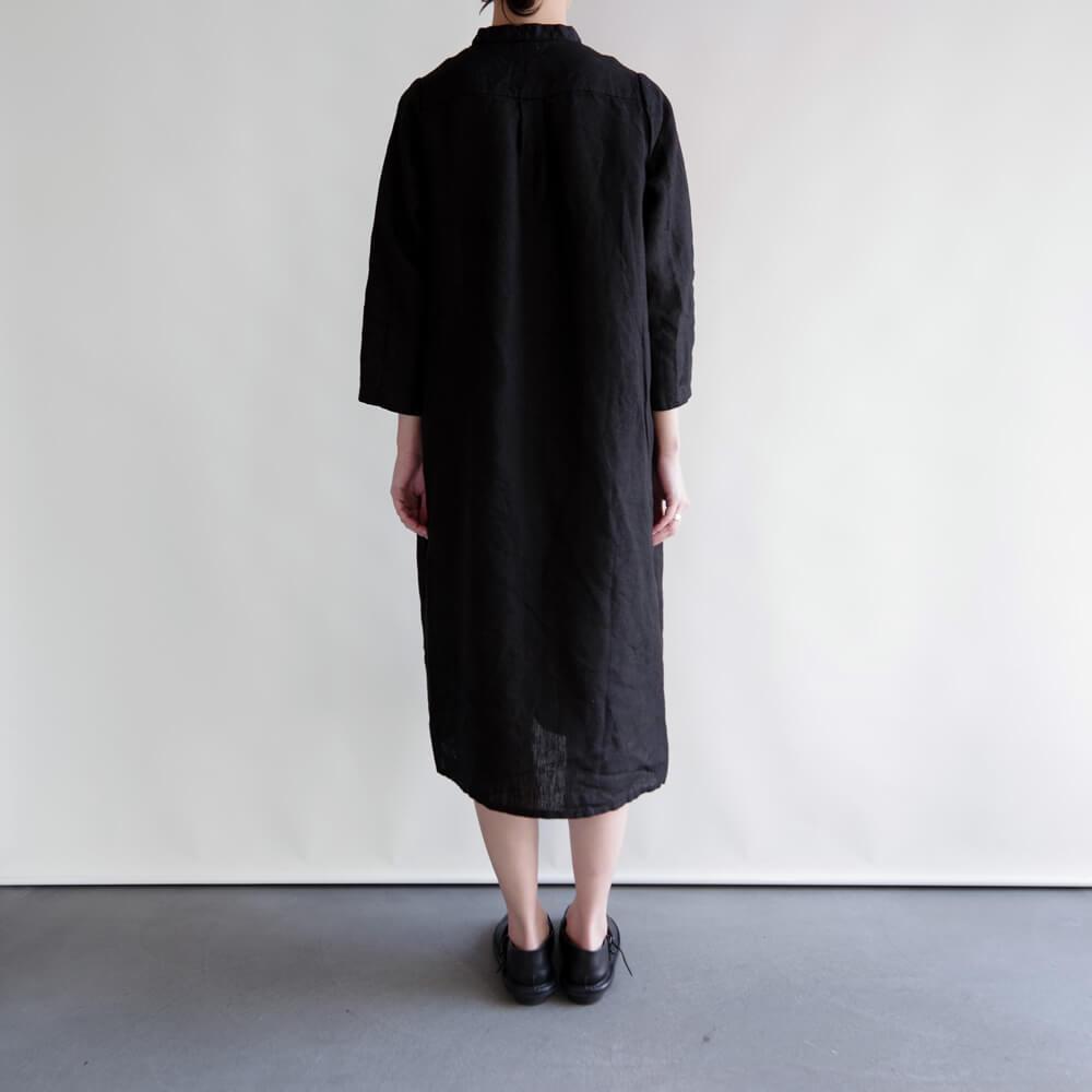 フォグリネンワーク fog linen work : MIA DRESS マイア ワンピース (ブラック/ナチュラル)