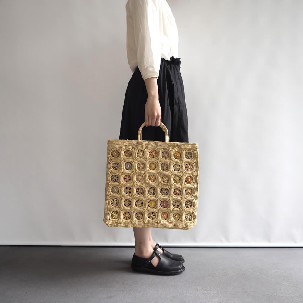 ソフィーディガール Sophie Digard : FLOWER CIRCLE RAPHIA BAG フラワーサークルラフィアバッグ