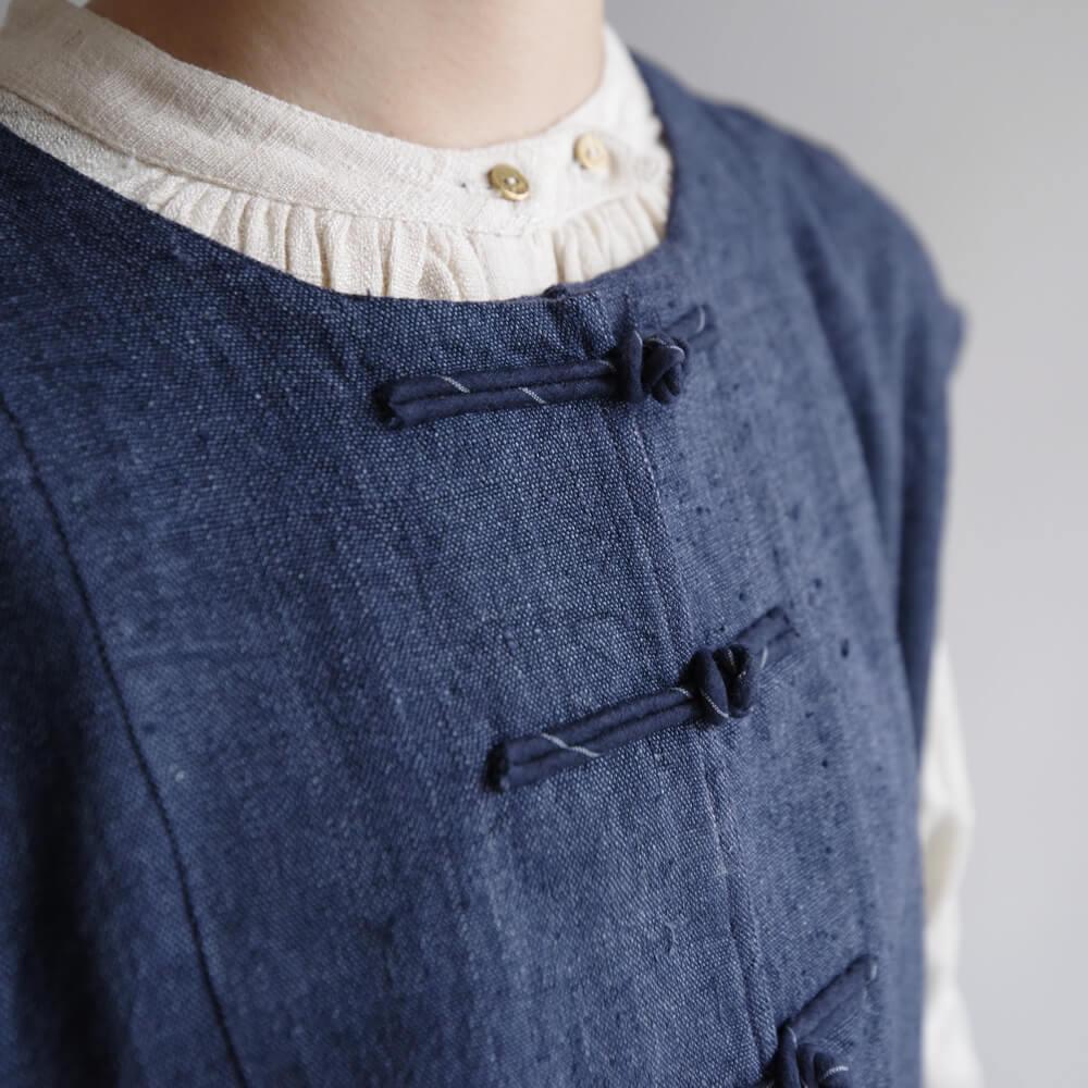 マクテキスタイルズ maku textiles : Xerces チャイナボタン ロングベスト