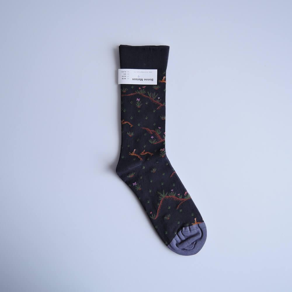ボンヌ・メゾン Bonne Maison:Lievre Faux Noir Socks