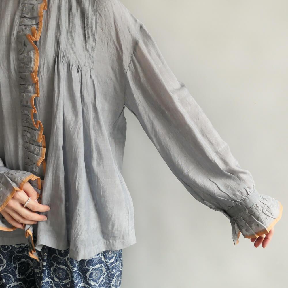 ブノン BUNON : Embroidery Frill blouse ドット刺繍コットンシルクブラウス