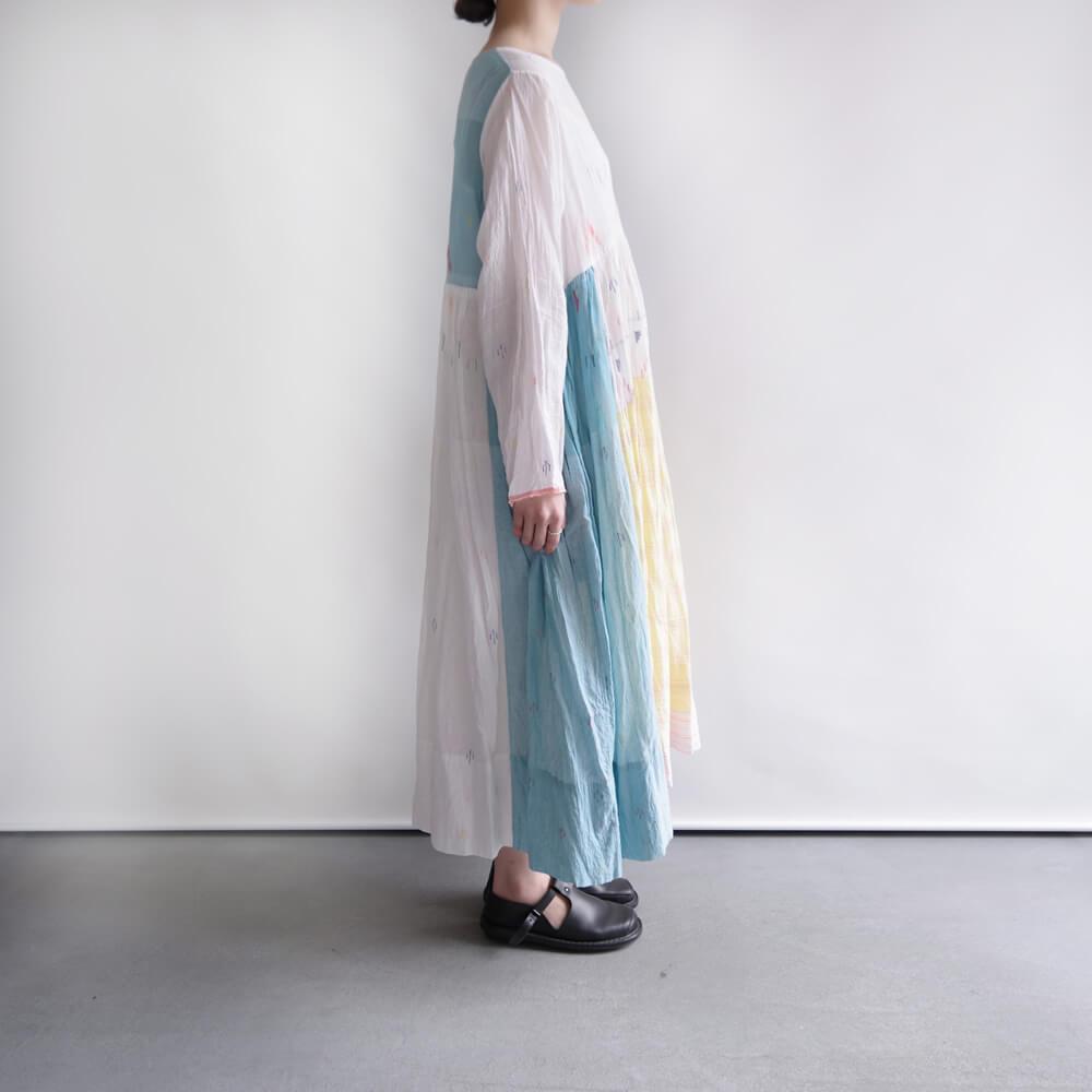 インジリ injiri : ジャムダニ織りワンピース(Horizon Blue)