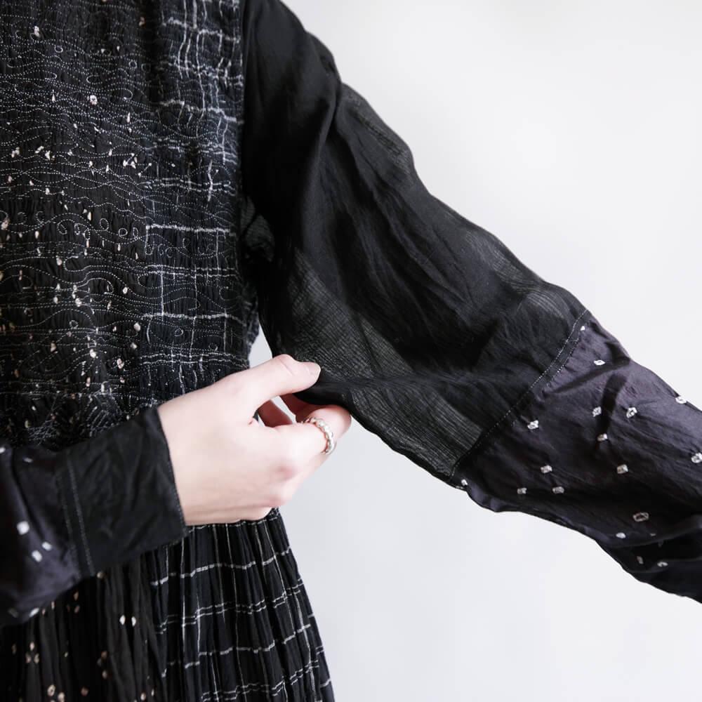 インジリ injiri : Teej-18 ミシンステッチワンピース(Black)