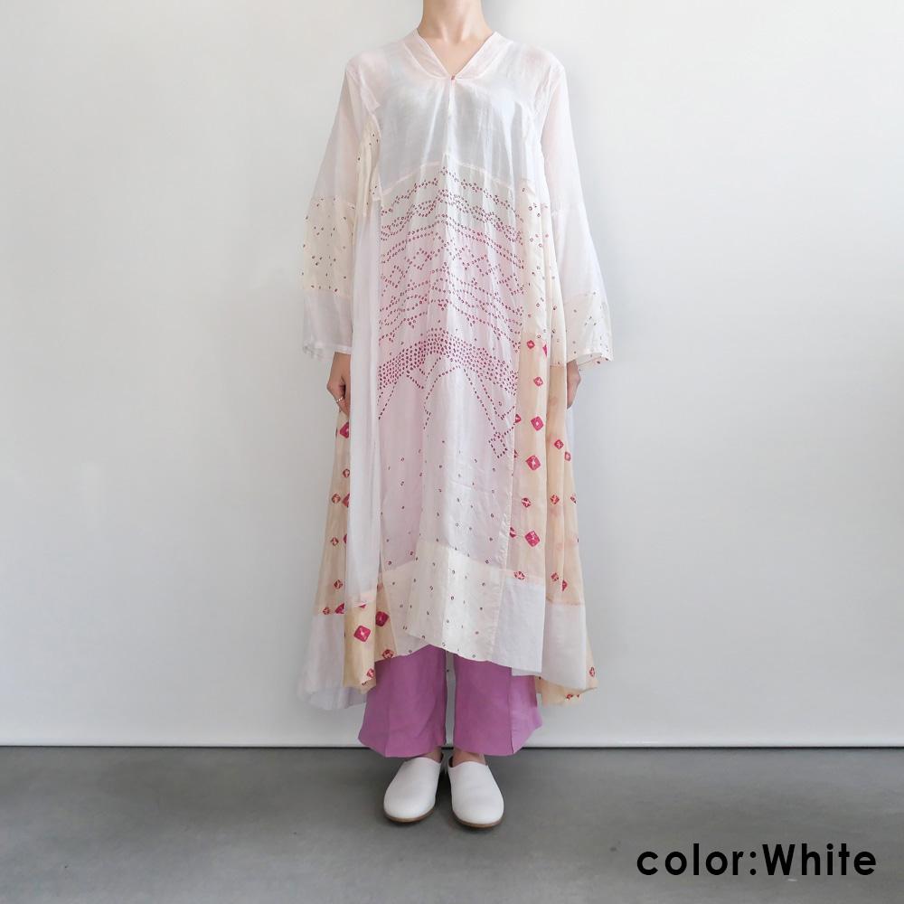 インジリ injiri : 絞り染めワンピース(White×Pink)