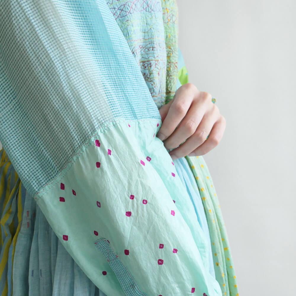 インジリ injiri : 絞り染め×ジャムダニ織りワンピース(水色)