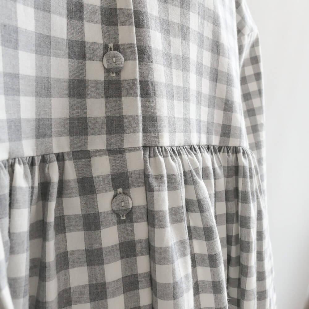 エコールドキュリオジテ ECOLE DE CURIOSITES : DOLLY BLOCK CHECK COTTON DRESS ギンガムチェックワンピース