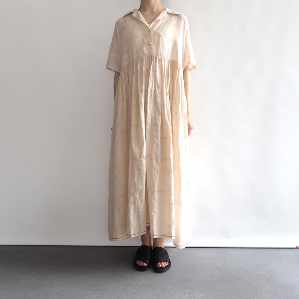 カディー&コー Khadi and Co : VICTORIA DRESS オープンカラーワンピース(チェック)
