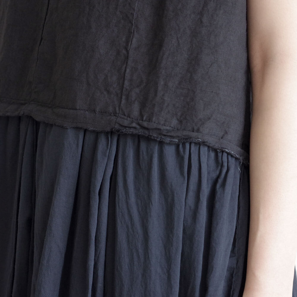 アッシュプリュスアノーヴェセル H+ HANNOH WESSEL : Romana DRESS リネン切替ノースリーブワンピース