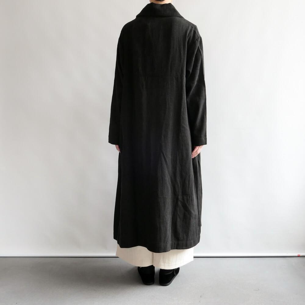 クロウ crow : oversized coat ショールカラーコート(Black)