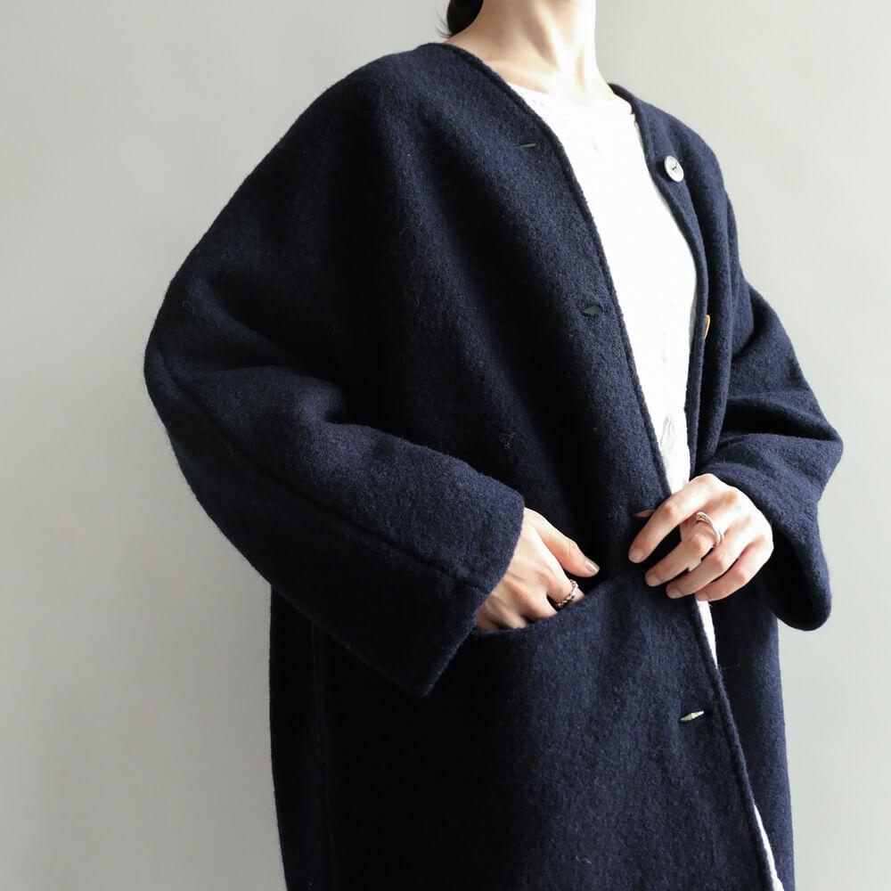 ワーカーズ ノビリティ Worker's Nobility : Midi coat ウールVネックコート