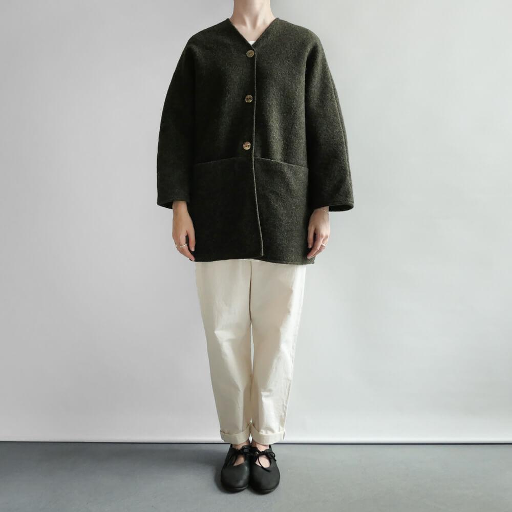 ワーカーズ ノビリティ Worker's Nobility : Midi jacket ウールVネックジャケット