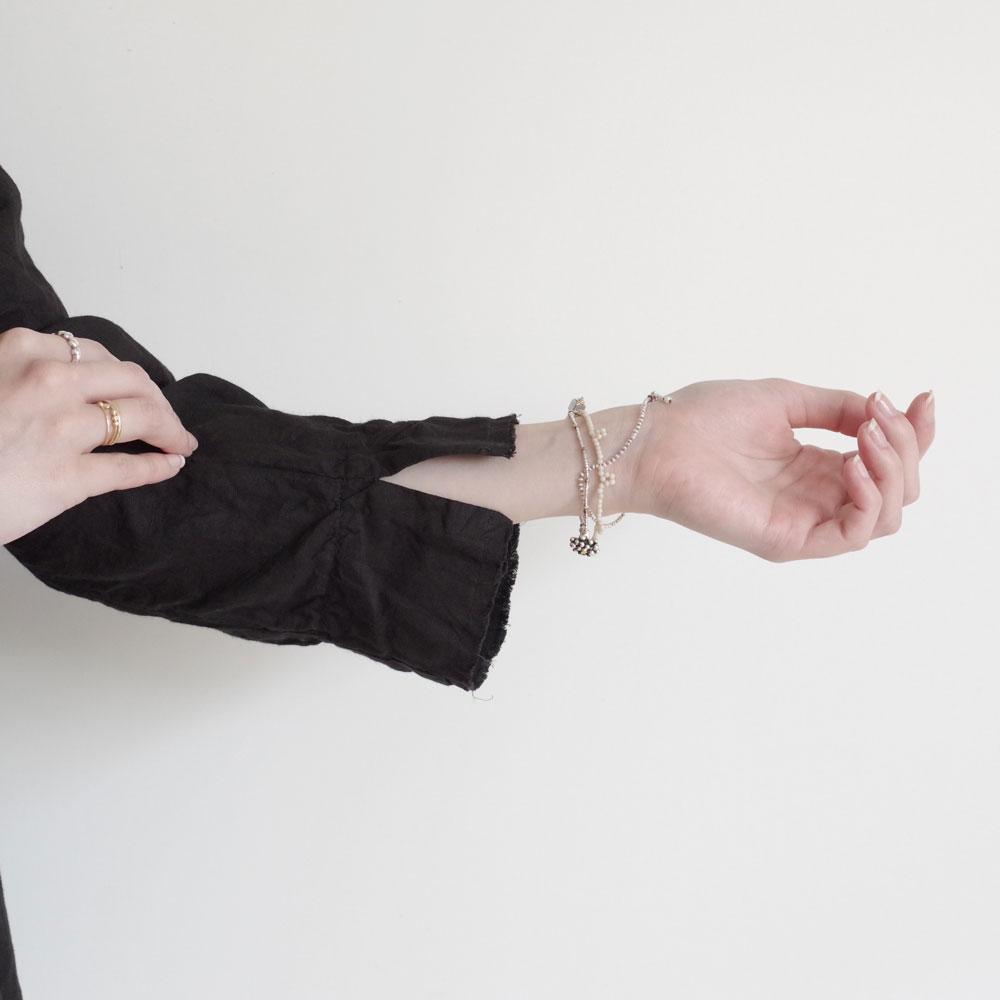 アッシュプリュスアノーヴェセル H+ HANNOH WESSEL : Virna JACKET リネンフリルジャケット(BLACK)