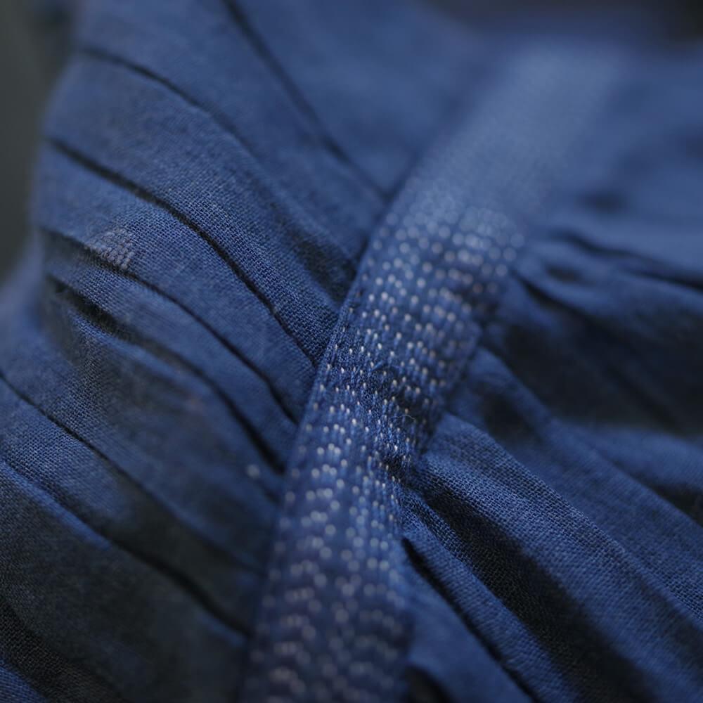 ラナウェイバイシクル Runaway Bicycle : dress with embroidery 肩ギャザーワンピース(インディゴ)