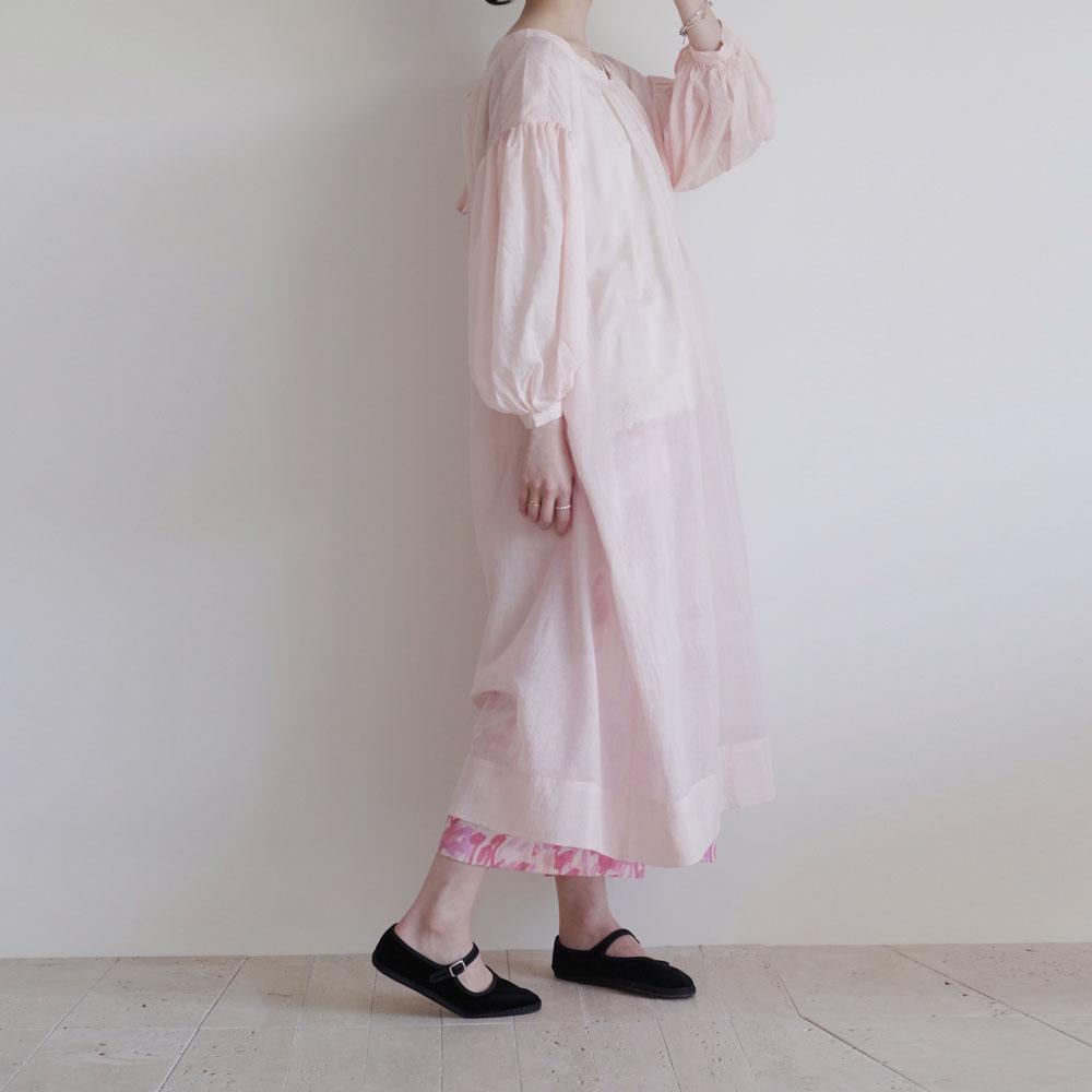 ブノン BUNON : Gather Dress ギャザードレス(ピンク)