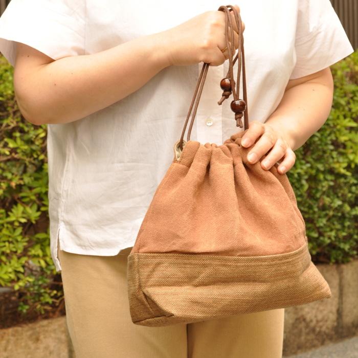 【5Lira】手さげバッグにもなる柿渋染め巾着