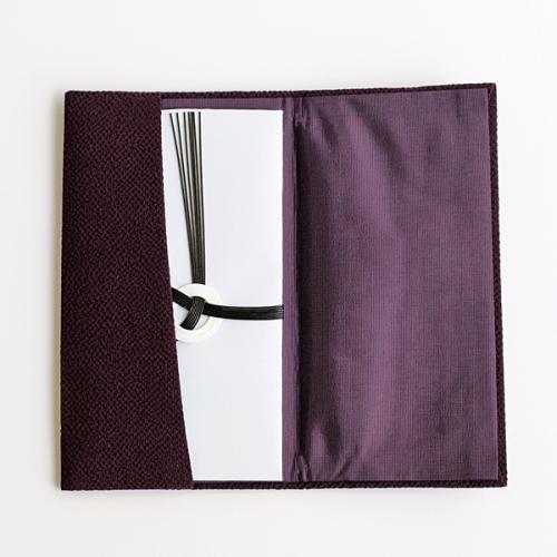 【宮井】正絹ちりめん金封入れ(名刺入付) 紫