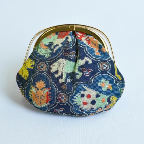 【龍村美術織物】バネ付きコイン入れ 獅噛鳥獣文錦(紺)